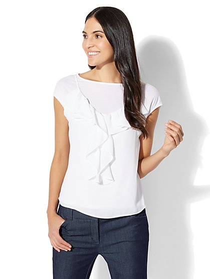 7th Avenue - Ruffled Twofer Top - White - New York & Company
