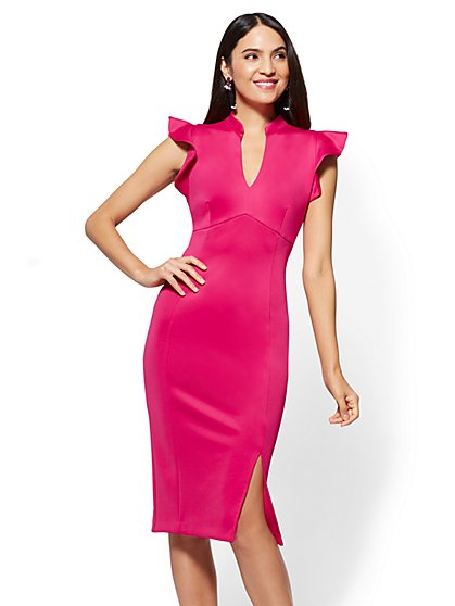 7th Avenue - Ruffled V-Neck Sheath Dress - New York & Company