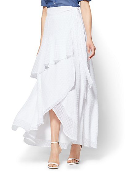 7th Avenue Ruffled Wrap-Front Maxi Skirt  - New York & Company