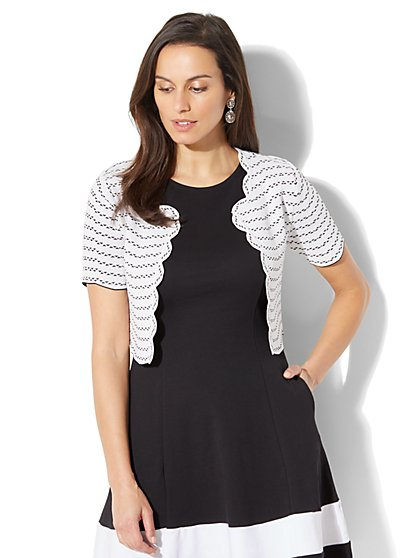 7th Avenue - Scalloped Dress Cardigan - White - New York & Company