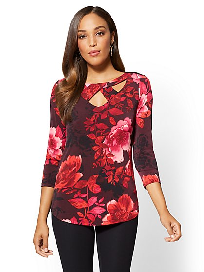 7th Avenue - Scoopneck Cutout Top - Floral - New York & Company