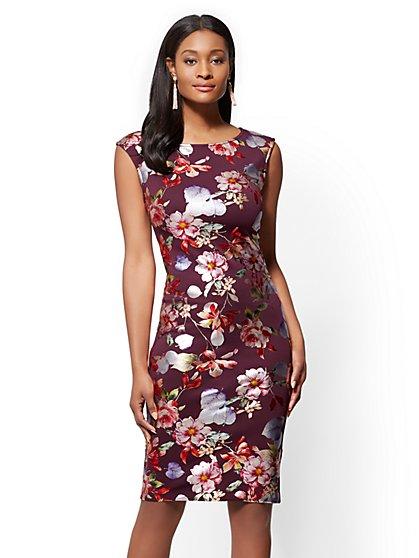7th Avenue - Scoopneck Sheath Dress - Metallic-Foil Floral - New York & Company
