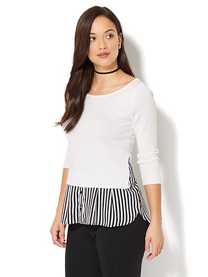 7th Avenue - Scoopneck Twofer Sweater - Stripe - New York & Company