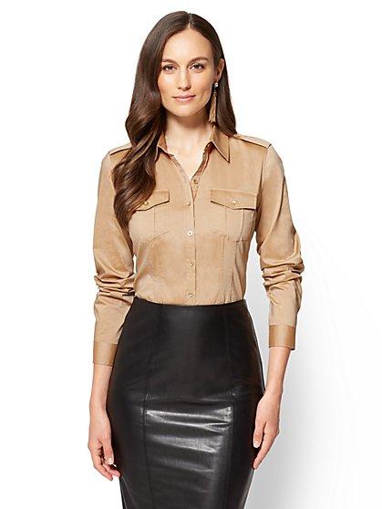 7th Avenue SecretSnap Madison Stretch Shirt - Camel  - New York & Company