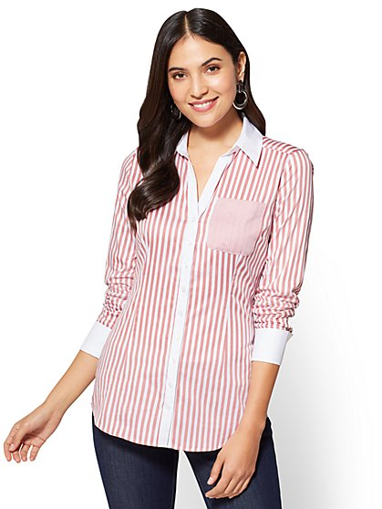 7th Avenue SecretSnap Madison Stretch Shirt - French Cuff - Stripe  - New York & Company