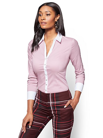 7th Avenue SecretSnap Madison Stretch Shirt - French Cuff - Violet  - New York & Company