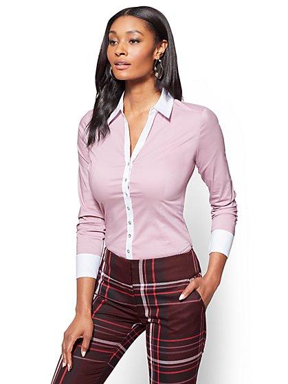 7th Avenue SecretSnap Madison Stretch Shirt - French Cuff - Violet  - New York & Company
