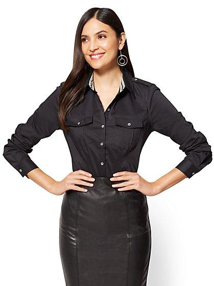 7th Avenue SecretSnap Madison Stretch Shirt - Grosgrain Trim - New York & Company