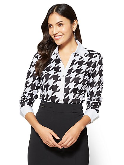 7th Avenue SecretSnap Madison Stretch Shirt - Houndstooth - Tall  - New York & Company