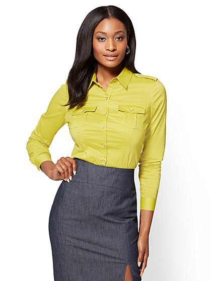 7th Avenue SecretSnap Madison Stretch Shirt - Lime - Petite  - New York & Company