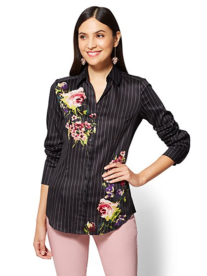 7th Avenue SecretSnap Madison Stretch Shirt - Mixed Print - New York & Company