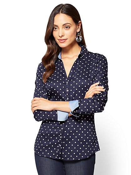 7th Avenue SecretSnap Madison Stretch Shirt - Navy - Polka Dot - Petite - New York & Company