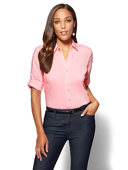 7th Avenue SecretSnap Madison Stretch Shirt - Pink - New York & Company