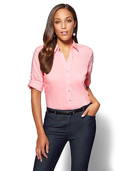 7th Avenue SecretSnap Madison Stretch Shirt - Pink - New York & Company