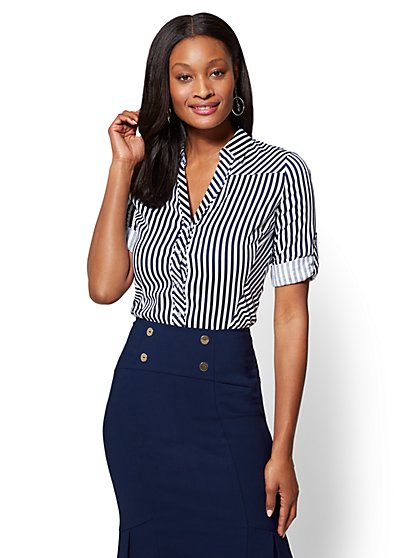 7th Avenue SecretSnap Madison Stretch Shirt - Stripe - New York & Company
