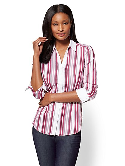 7th Avenue SecretSnap Madison Stretch Shirt - Vertical Stripe - New York & Company