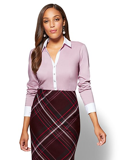 7th Avenue SecretSnap Madison Stretch Shirt - Violet - New York & Company