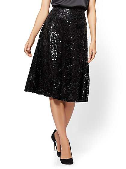 7th Avenue - Sequin Circle Skirt - Black - New York & Company
