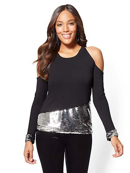 7th Avenue - Sequin Cold-Shoulder Sweater - New York & Company