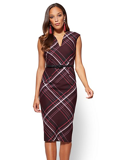 7th Avenue Sheath Dress - Burgundy - Plaid  - New York & Company