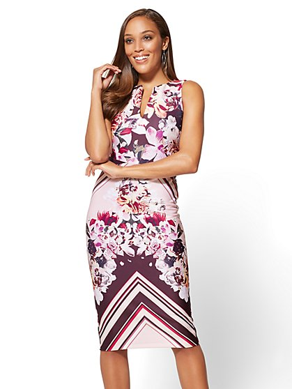 7th Avenue - Sheath Dress - Floral & Stripe Print - Tall - New York & Company