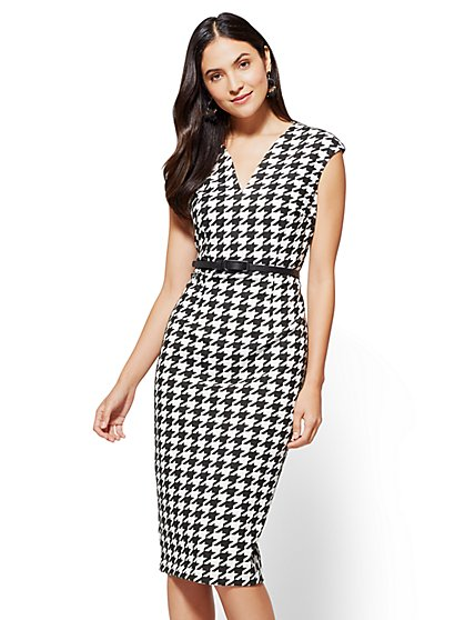 7th Avenue Sheath Dress - Houndstooth Print  - New York & Company