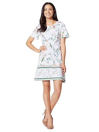 7th Avenue - Shift Dress - Bird & Bamboo Print - New York & Company
