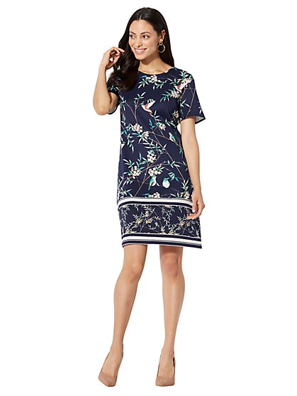 7th Avenue - Shift Dress - Bird & Bamboo Print - New York & Company