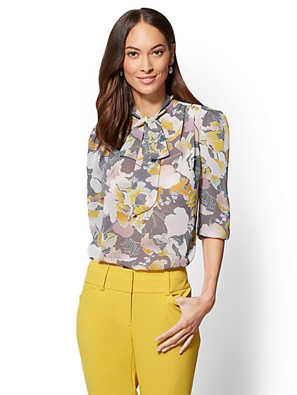 7th Avenue - Shirred Bow Blouse - Print - New York & Company