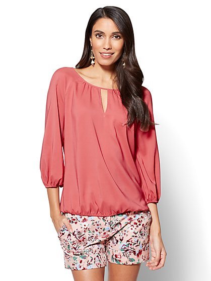 7th Avenue - Shirred Keyhole Blouse - New York & Company