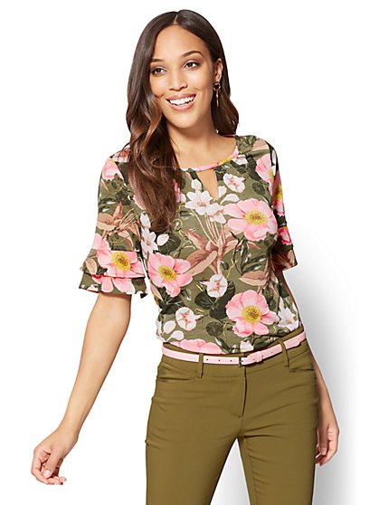 7th Avenue - Shirred Keyhole Top - Floral - New York & Company
