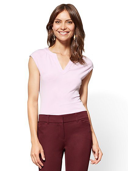 7th Avenue - Shirred Split-Neck Top - New York & Company