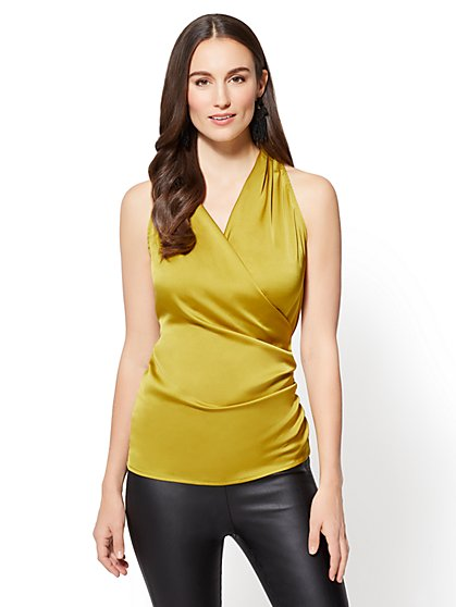 7th Avenue - Shirred Wrap Blouse - Chartreuse - New York & Company