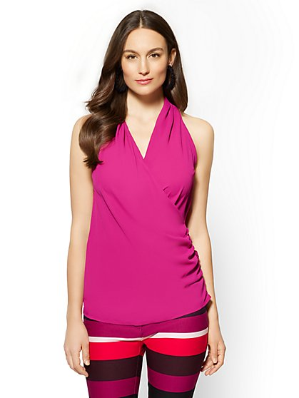 7th Avenue - Shirred Wrap Blouse - Fuchsia - New York & Company