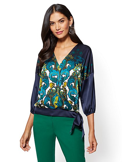 7th Avenue - Side-Tie Wrap Blouse - Print - New York & Company
