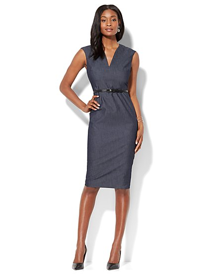 7th Avenue - Sleeveless Sheath Dress - Modern - Navy - New York & Company