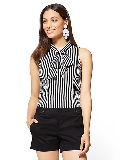 7th Avenue - Sleeveless Tie-Front Poplin Shirt - Stripe - New York & Company
