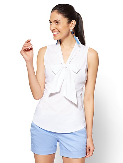 7th Avenue - Sleeveless Tie-Front Poplin Shirt - White - New York & Company