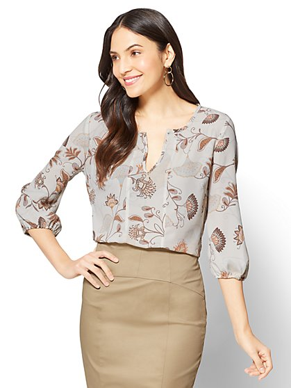 7th Avenue Split-Neck Blouse - Ivory Floral - Tall - New York & Company