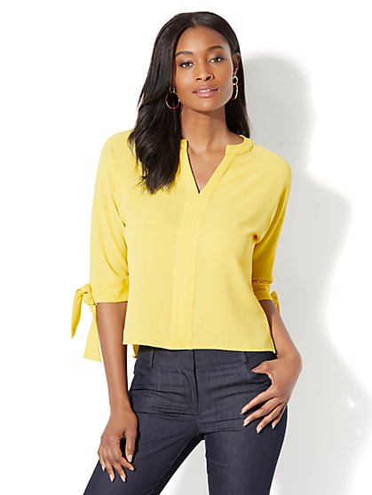 7th Avenue - Split-Neck Hi-Lo Blouse - New York & Company