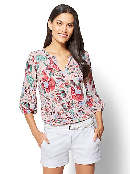 7th Avenue Split-Neck Popover Blouse - Floral - Tall - New York & Company