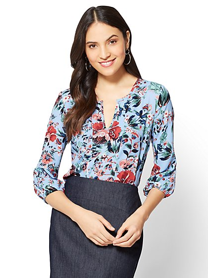 7th Avenue - Split-Neck Popover Blouse - Floral - New York & Company