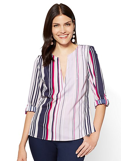 7th Avenue - Split-Neck Popover Blouse - Stripe - Petite - New York & Company