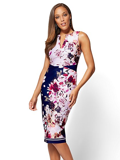 7th Avenue - Split-Neck Sheath Dress - Floral - Petite - New York & Company