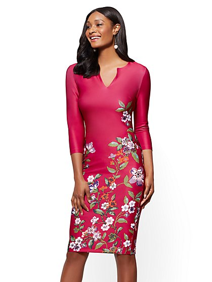 7th Avenue - Split-Neck Sheath Dress - Floral - New York & Company
