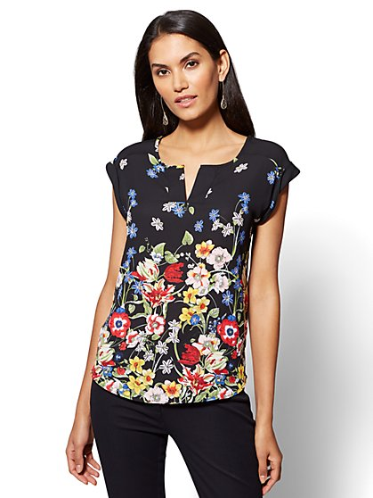 7th Avenue - Split-Neck Tee - Floral Print - New York & Company