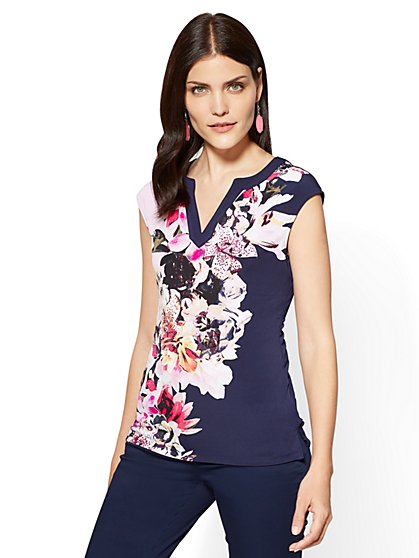 7th Avenue - Split-Neck Top - Floral - New York & Company