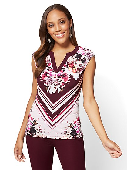 7th Avenue - Split-Neck Top - Mixed Print - New York & Company