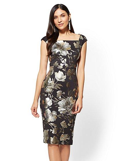 7th Avenue - Square-Neck Sheath Dress - Metallic-Foil Floral - New York & Company