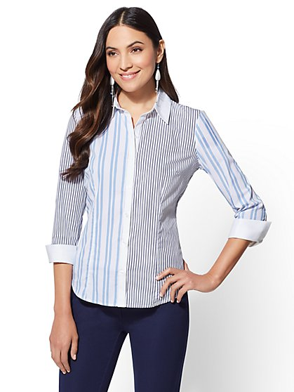 7th Avenue - Stripe 3/4-Sleeve Madison Stretch Shirt - New York & Company